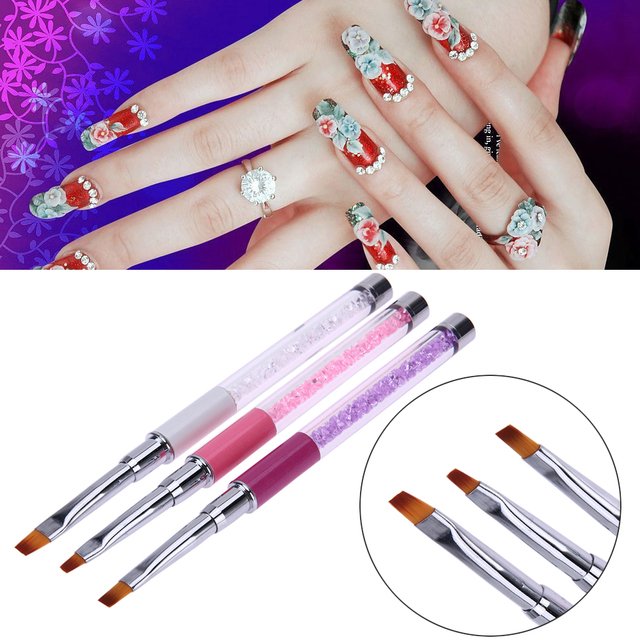 Nail Art Flat Head Brushes UV Gel Nail Painting Brush Pen Crystal ...