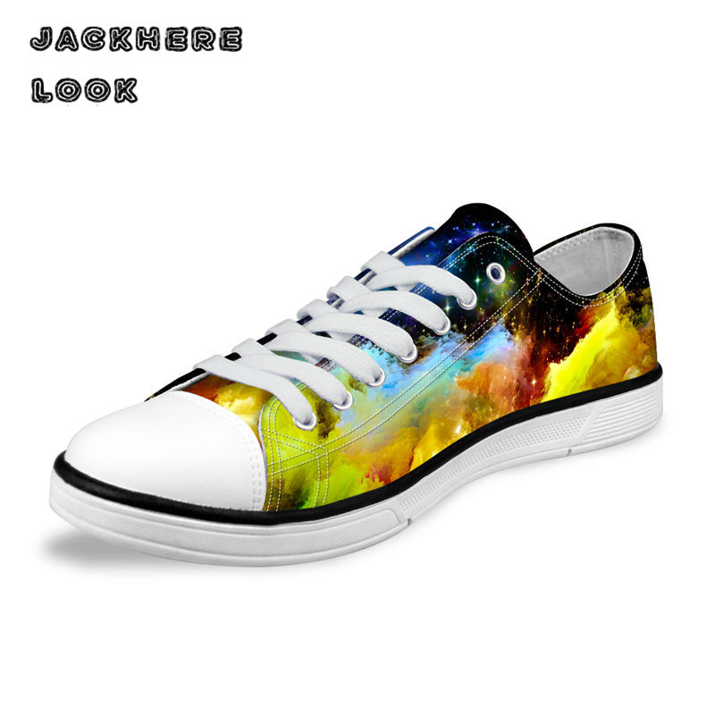 JACKHERELOOK Fashion Galaxy Universe Space Star Printed Men Casual Low Canvas Shoes Breathable Lace-Up Female Vulcanized Shoes
