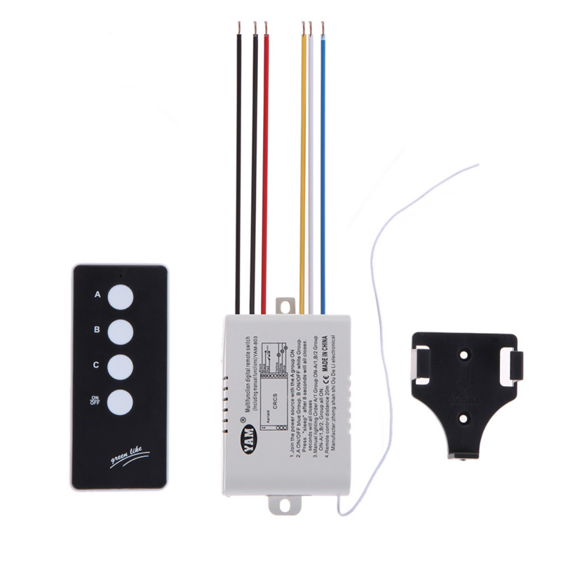 3 Way Remote Control Switch ON/OFF 220V Lamp Light Digital Wireless Wall Remote Control Switch Receiver Transmitter