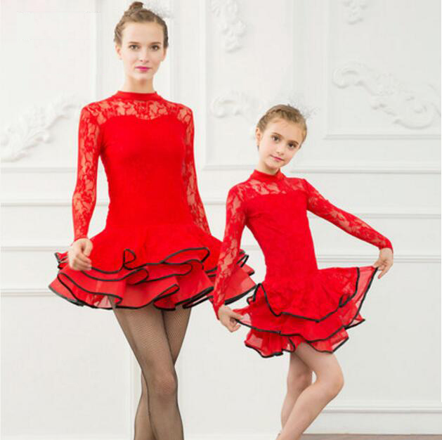 Lace Sequin Kids Newest Sexy Ballroom Dresses Tango Salsa Latin Dance Dress Children Red Black Lace Dress For Girls Long Sleeve