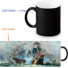 Custom Vintage Sailing Boat Coffee Milk Tea Morphing Mugs Heat Sensitive Color Changing 350ml/12oz Mug(China)