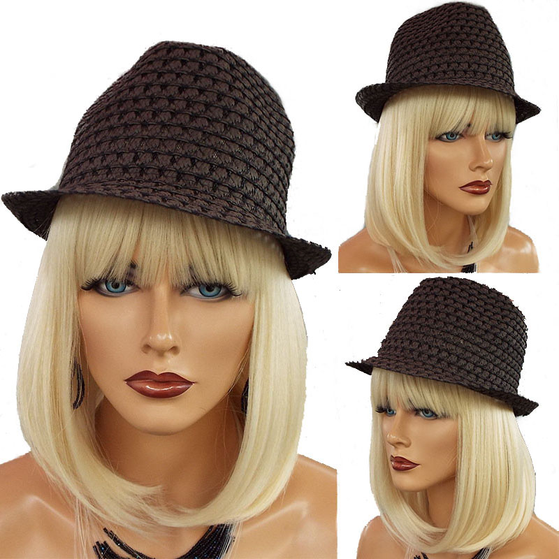 613 Blonde Bob Lace Front Human Hair Wigs With Bangs 360 Lace Frontal Wig Pre Plucked