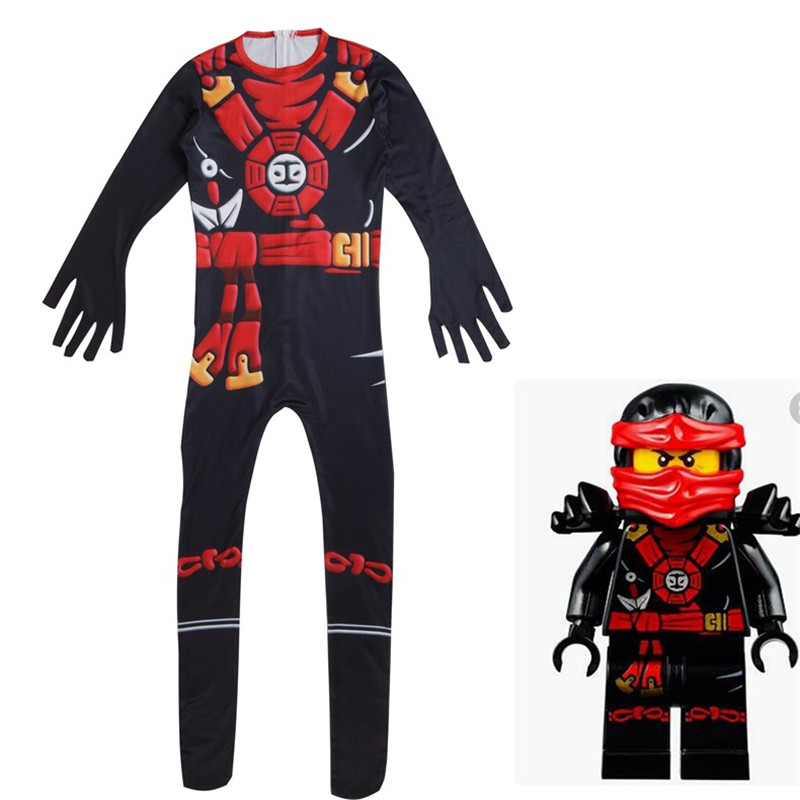 Ninjago Boys Kai Deluxe Costume Zentai Bodysuit Suit Jumpsuits Cosplay Costume Halloween Party