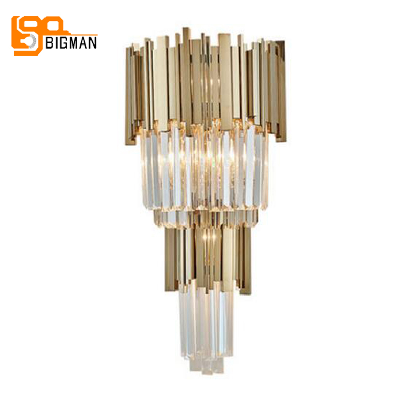 new design luxury crystal lamp lustre gold applique murale luminaire moderne home LED wall light height 80cm ...