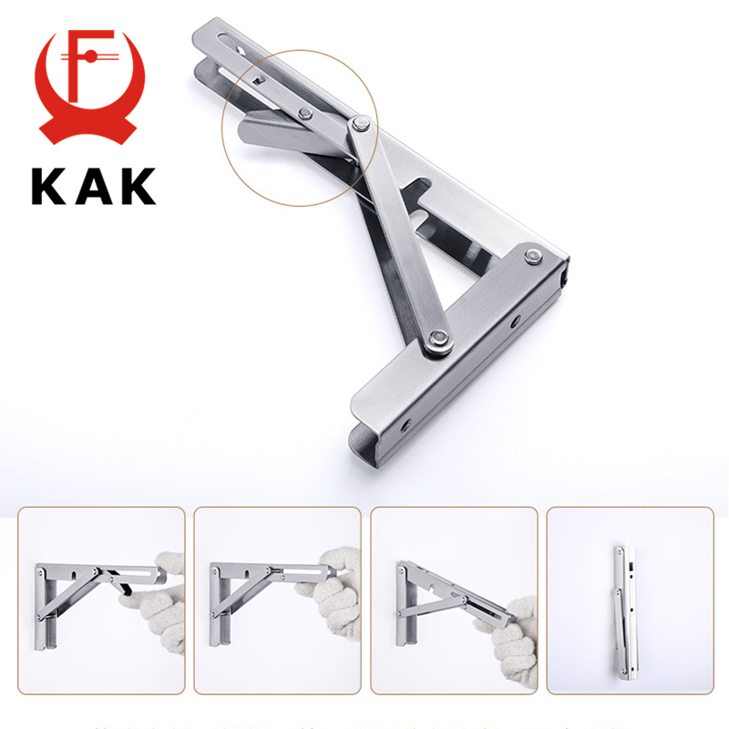 Image 4 - KAK 2PCS Folding Triangle Bracket Stainless Steel Shelf Support Adjustable Shelf Holder Wall Mounted Bench Table Shelf Hardware-in Brackets from Home Improvement