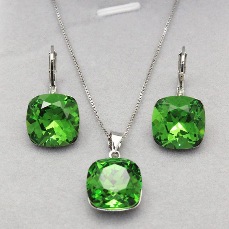 11.11 vente bijoux en cristal vert ensemble pour les femmes de mariage créateurs de mode boucles d'oreilles et pendentif ensemble pour le cadeau de la saint-valentin