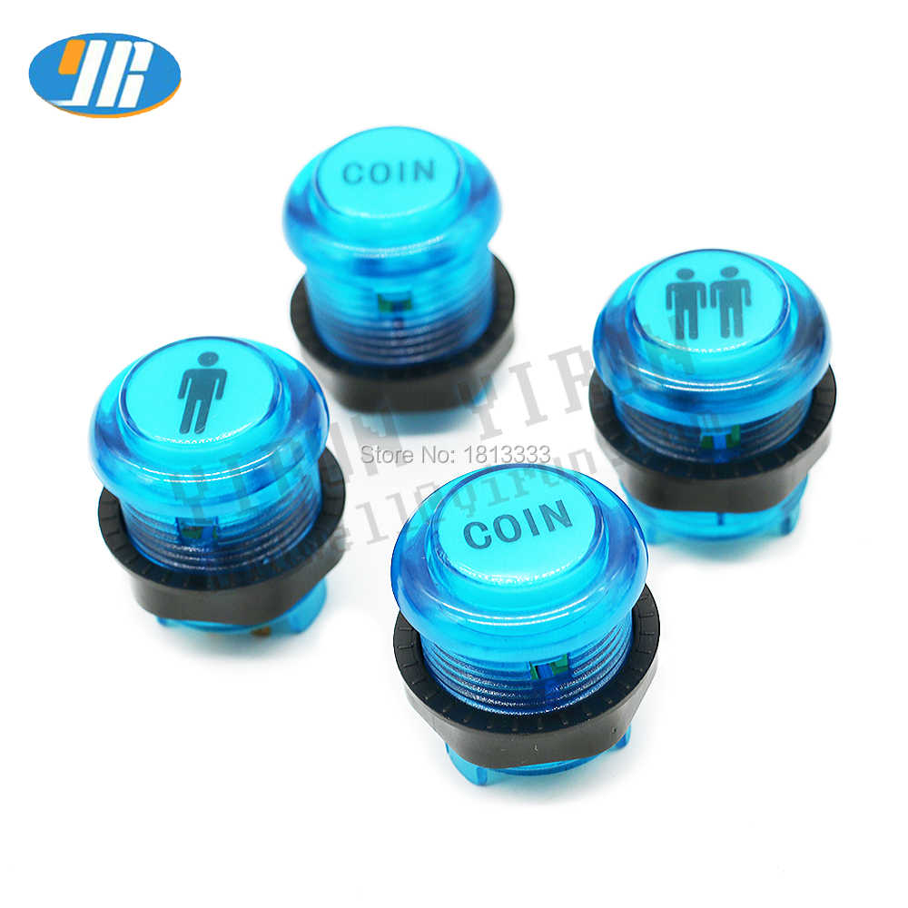 28mm Arcade Start Button 1P 2P COIN Logo illuminated Push Button 5V LED With Microswitch Arcade Machine PC Controller