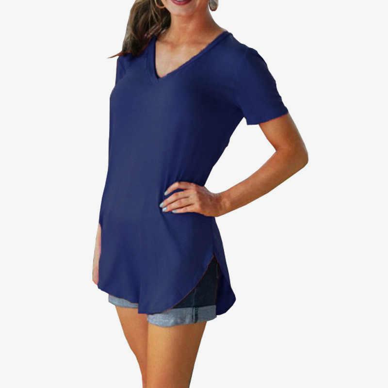 2018 נשים של ארוך T חולצה נשים קצר שרוולים Slim מוצק צבע נשים פשוט טי חולצת טריקו לנשים חולצת טי