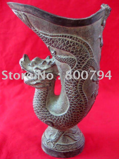 Vzácná dynastie Qing (Qianlong: 1736-1795) Bronzová váza draka