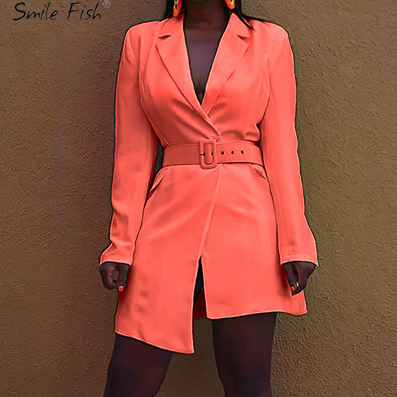 Autumn New Women's Long Sleeve Blazer Suit Female Fluorescent Yellow Jacket Blazers Casual Suits Dress Orange GV755