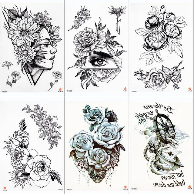 Rose Peony Flower Girls Temporary Tattoos For Women Waterproof Black Tattoo Stickers 3D Blossom Lady Shoulder DIY Tatoos 4