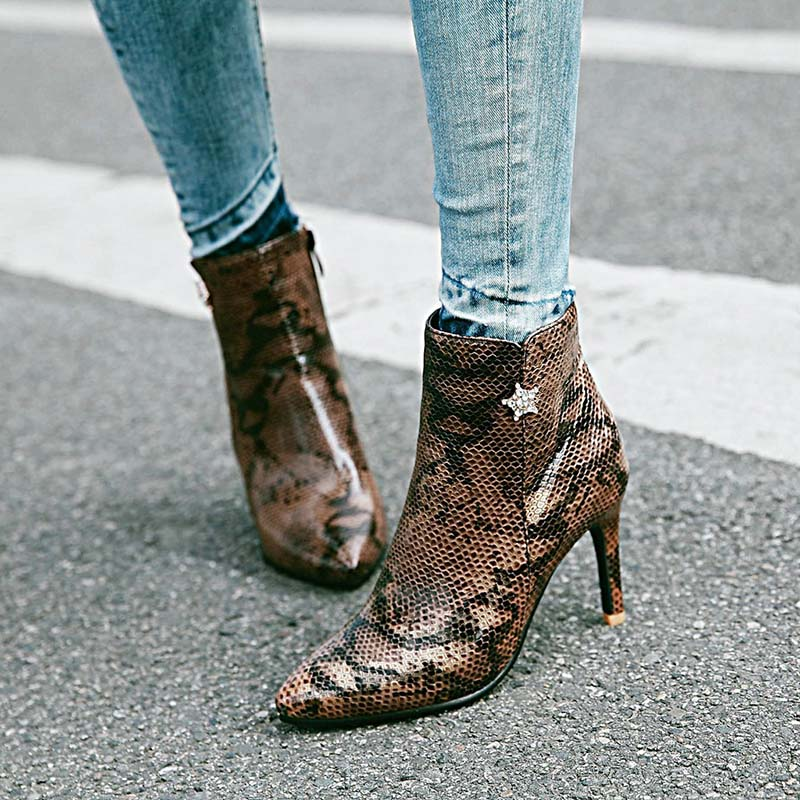 Sexy Snakeskin Pattern Boots Pointed Toe Thin High Heels Shoes Boots Zipper Women Ankle Boots Spring Autumn Serpentine Boots