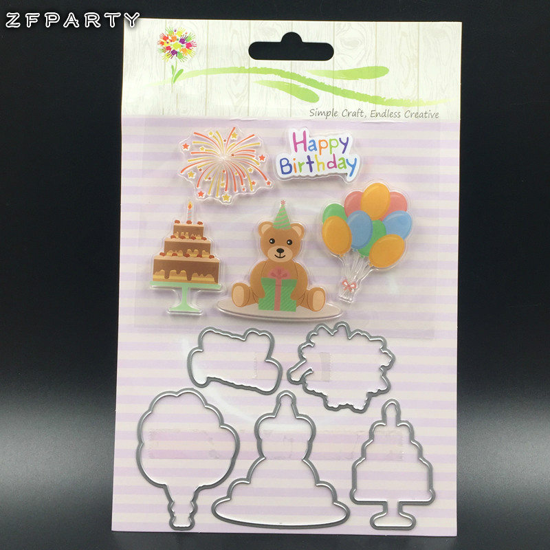 ZFPARTY Birthday Bear Transparent Clear Silicone Stamp And Cutting Die set for DIY scrapbooking/photo album/Card Making loving heart and ballon transparent clear stamp diy silicone seals scrapbooking card making photo album craft cl 285