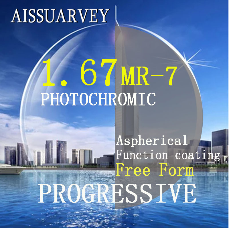 1 67 Index Asph Free Form Progressive Photochromic Lenses MR 7 Multifocal Bofical Top Quality Thin