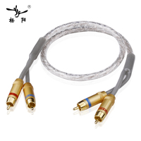 YYAUDIO Coaxial Audio Video 2 RCA Stereo Cable To 2 RCA Male To Male Gold Plated