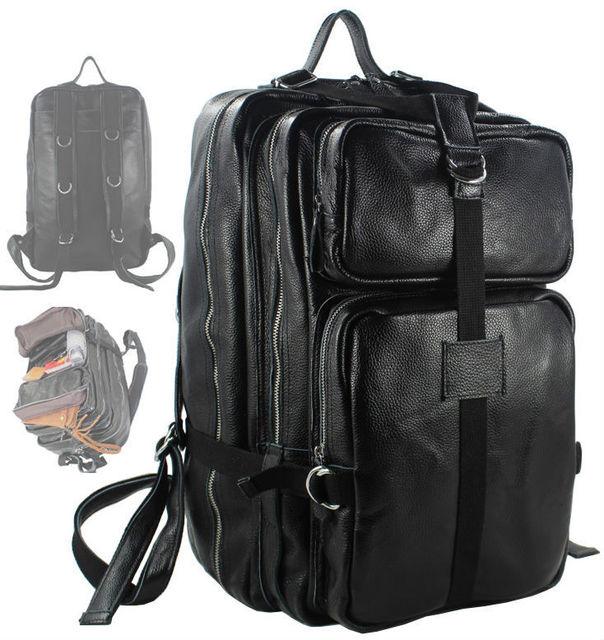 Fashion Men Genuine Leather Backpack men backpack Leather Large Travel Backpack male Rucksack mochila Travel bag Luggage Black