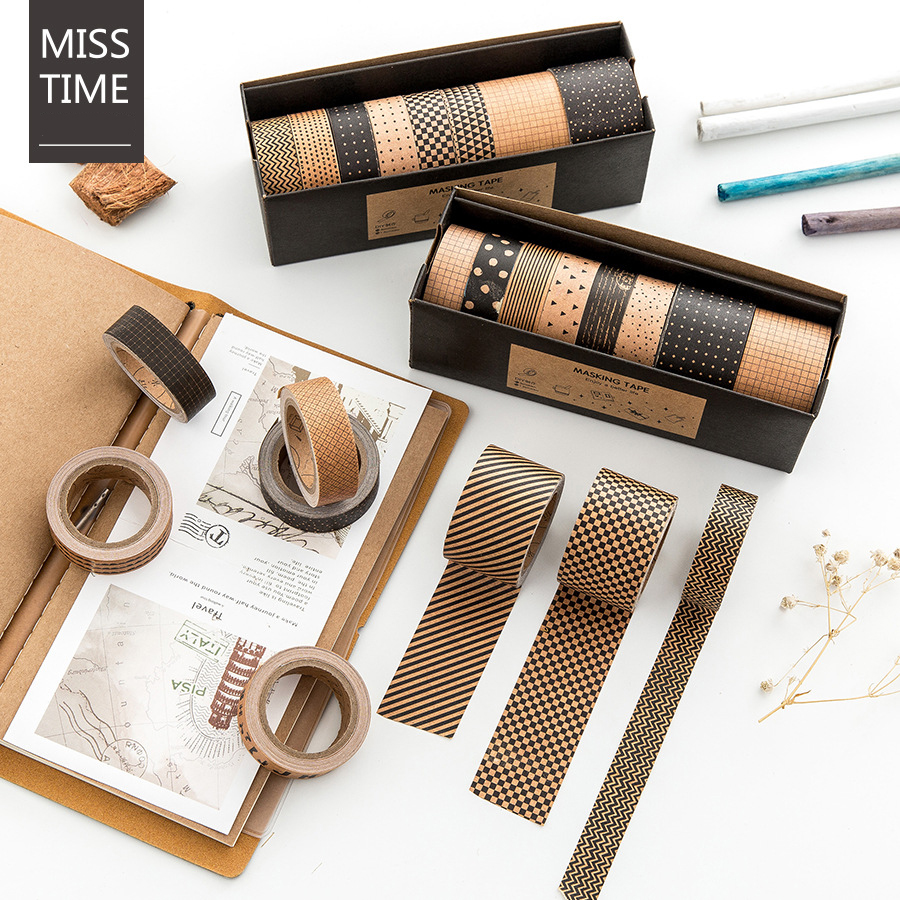 6+2 Kraft paper washi tape set Decorative paper masking tapes Diary book Album frame Stickers scrapbooking Stationery 4010 домкрат kraft кт 800026