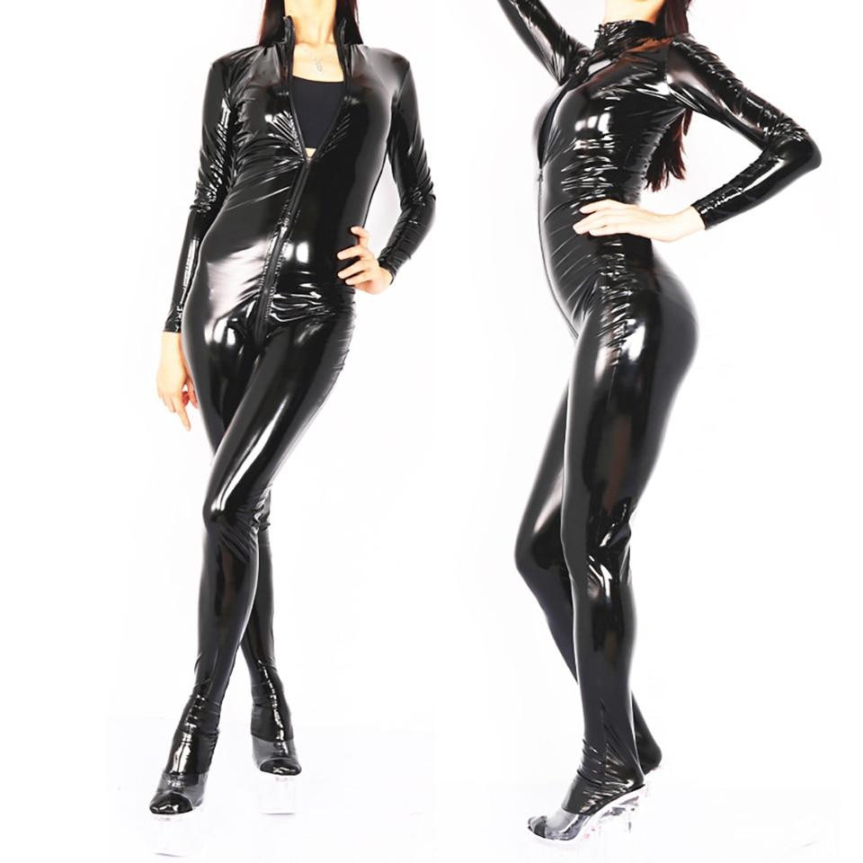 Free Shipping Sexy Glossy PVC Women Leotard Modern Bondage Unitard Costume Jumpsuit Catsuit Clubwear Front Zipper