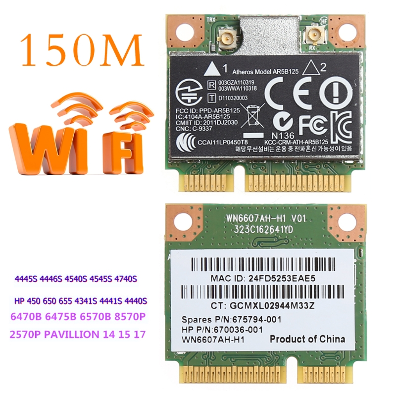 150M WiFi WLAN PCI-E Wireless Card Adapter For Atheros AR5B125 SPS 675794-001 HP PN 670036-001
