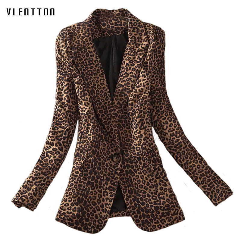 New fashionable long blazer woman spring autumn 2019 Leopard Single Button blazer feminino Long Sleeve office coat women blazer