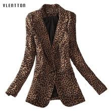 New fashionable long blazer woman spring autumn 2019 Leopard Single Button blazer feminino Long Sleeve office coat women blazer недорого