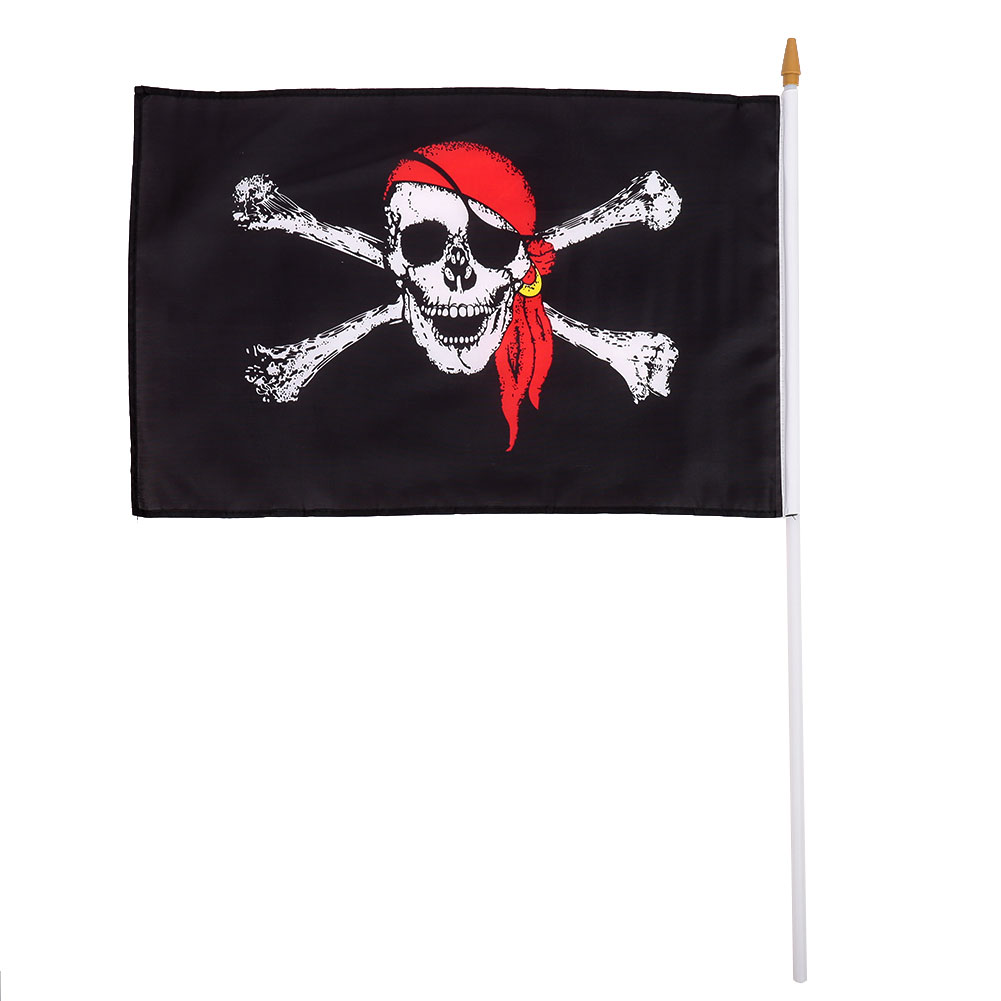 30x45 cm banderas con asta patrón pirata Halloween bar banner ...