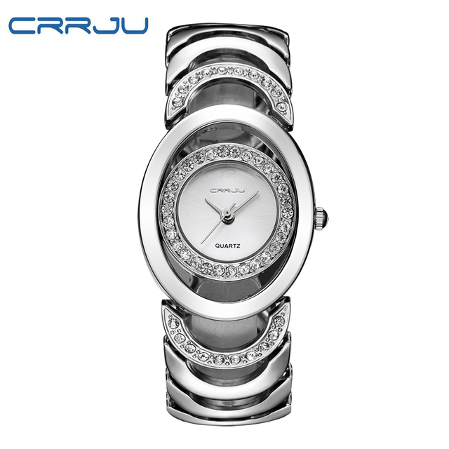 CRRJU Top Luxury Brand Women Bracelet Watch Fashion Women Dress Wristwatch Ladie