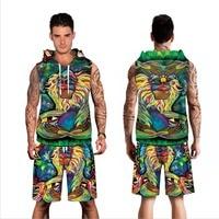 Echoine Sleeveless Hoodies Men Set Sweatshirts 3d Print Anamal Loose Thin Unisex Hooded Tracksuits Tops Pullovers