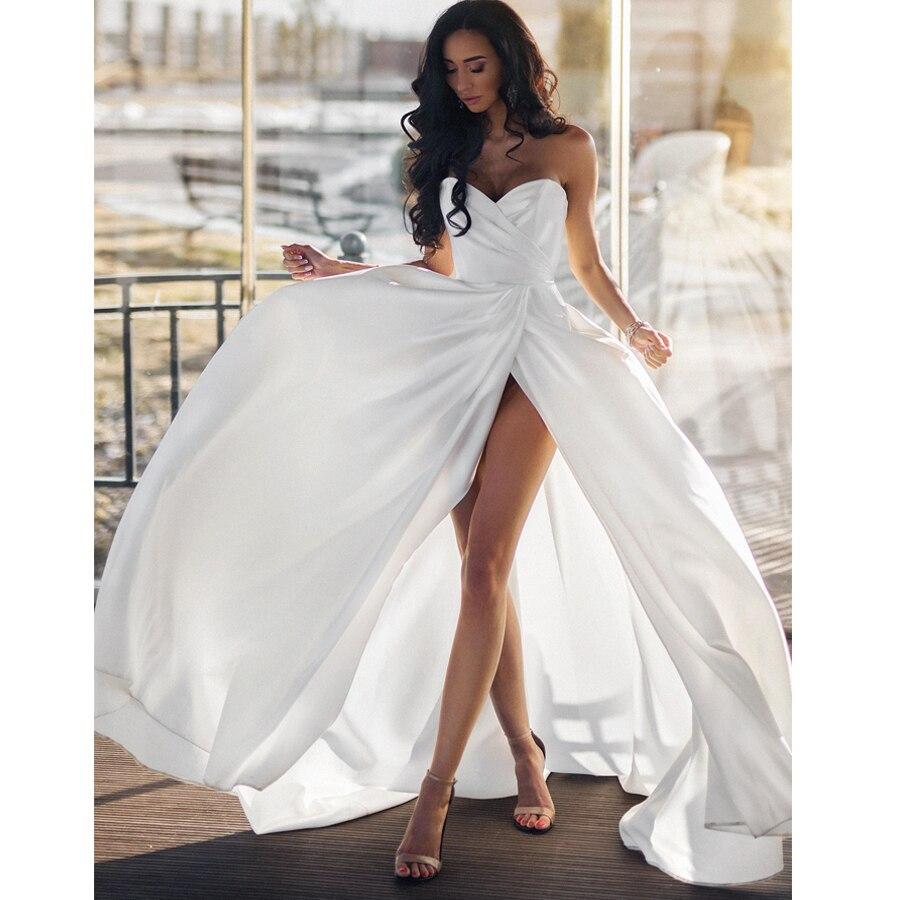 2019 Simple Plain Beach Wedding Dresses Plus Size Sexy Sweetheart Sleeveless Side Slit Bridal Gowns Vestido De Noiva