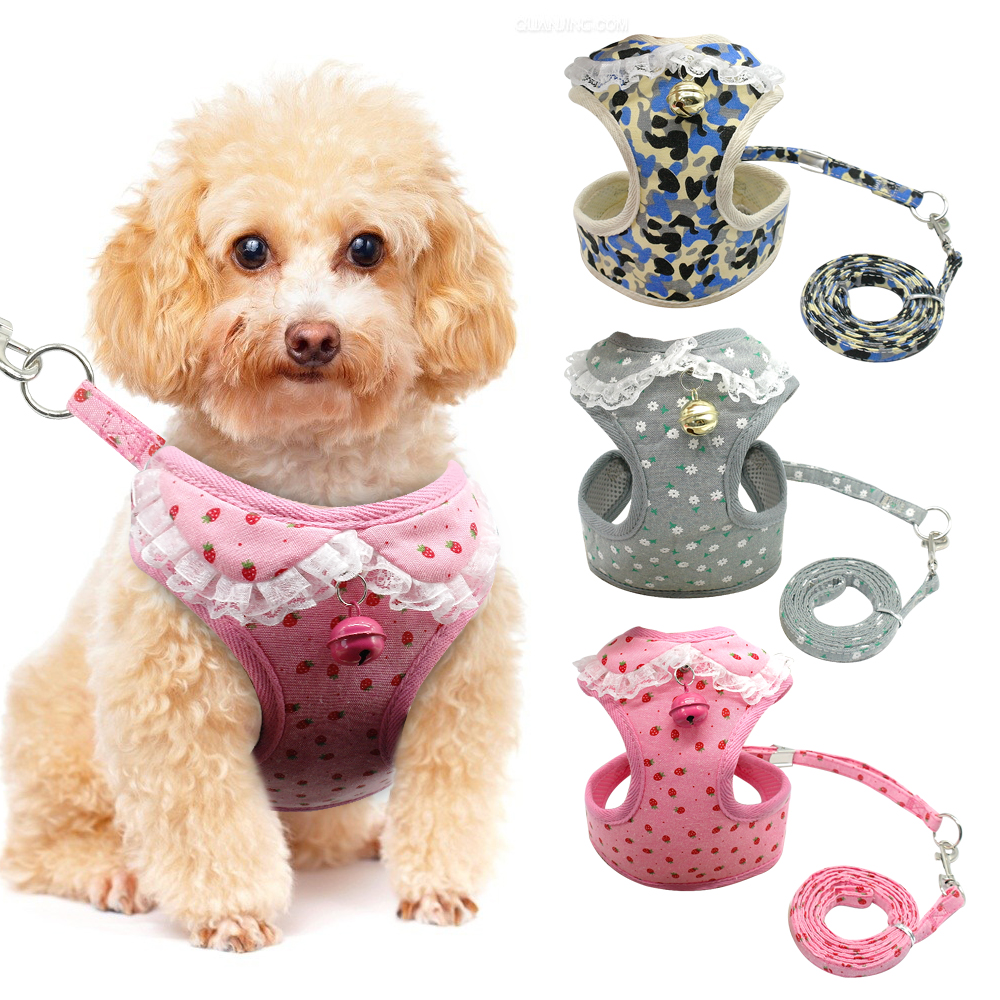 Lace Dog Harness and Leash Set Soft Mesh Pet Puppy Cat Vest Lead  For Small Medium Dogs Cats Chihuahua Yorkies Pink S-XL