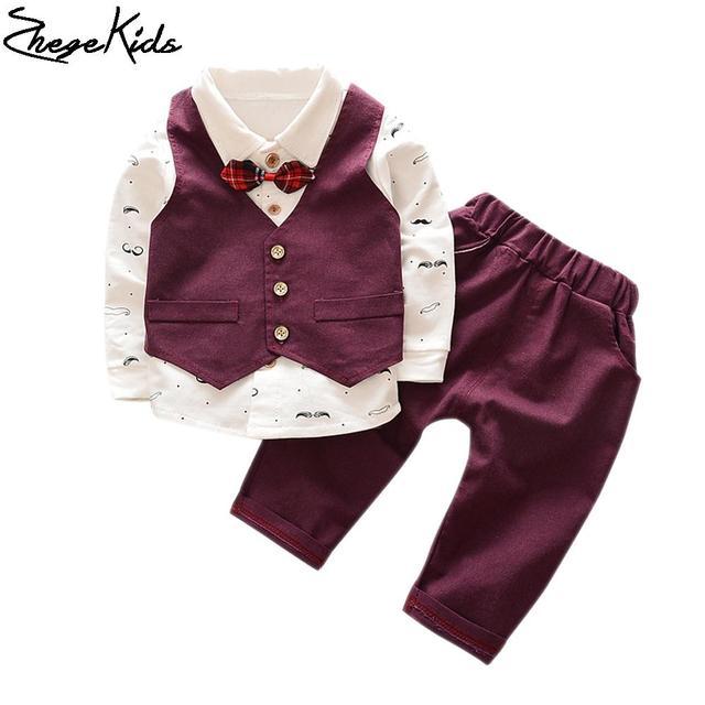 new arrival 2016 boys clothing set bow beard pattern tie shirt + waistcoat +pants 3pcs kids suits fashion children's sets