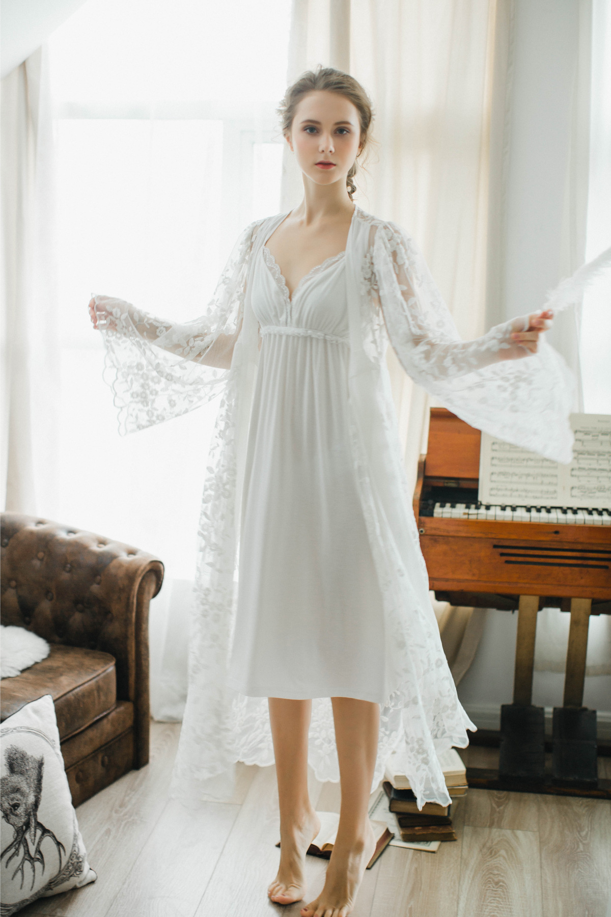 2019 Maternity Nightgown Photo Autumn And Winter Pajamas Two Piece ... c8186f301