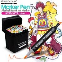 FINECOLOUR 36/48/60/72 цветов эскиз маркеры анимационные ручки набор для школьников Дизайн Рисование кисти маркер художественные принадлежности