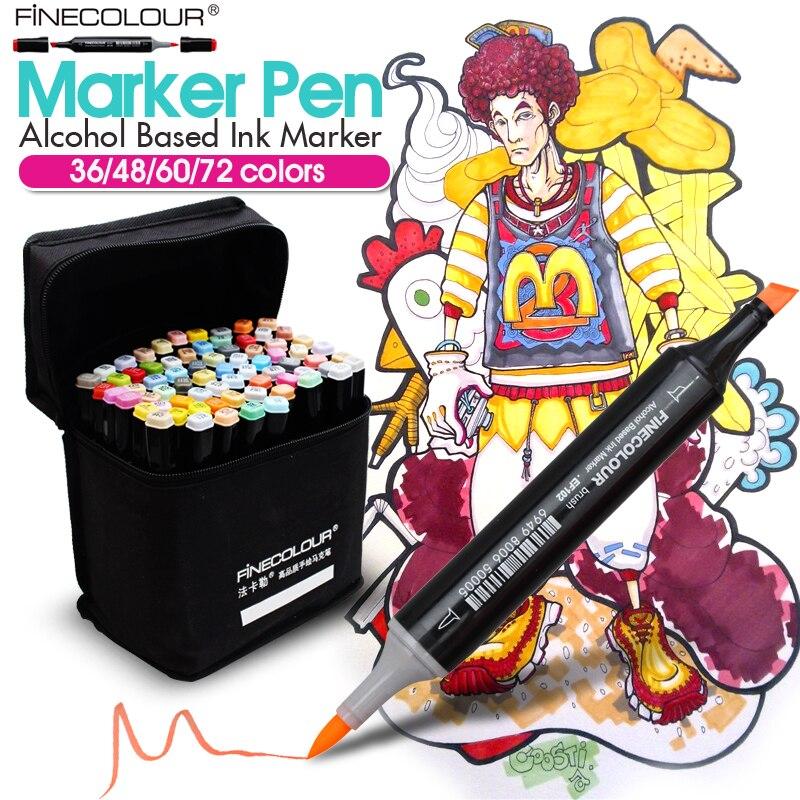 FINECOLOUR 36/48/60/72 colores marcadores de bosquejo animación plumas Set para estudiante de escuela diseño dibujo cepillo marker Art Supplies