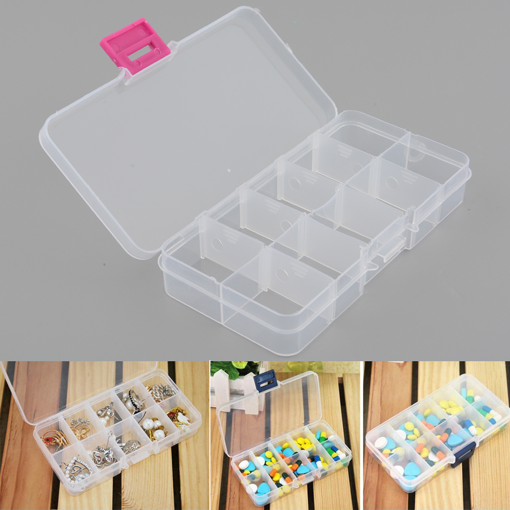 2pcs Plastic 10 Slots Compartment Adjustable Jewelry Necklace Clear Storage Box Case Hol ...
