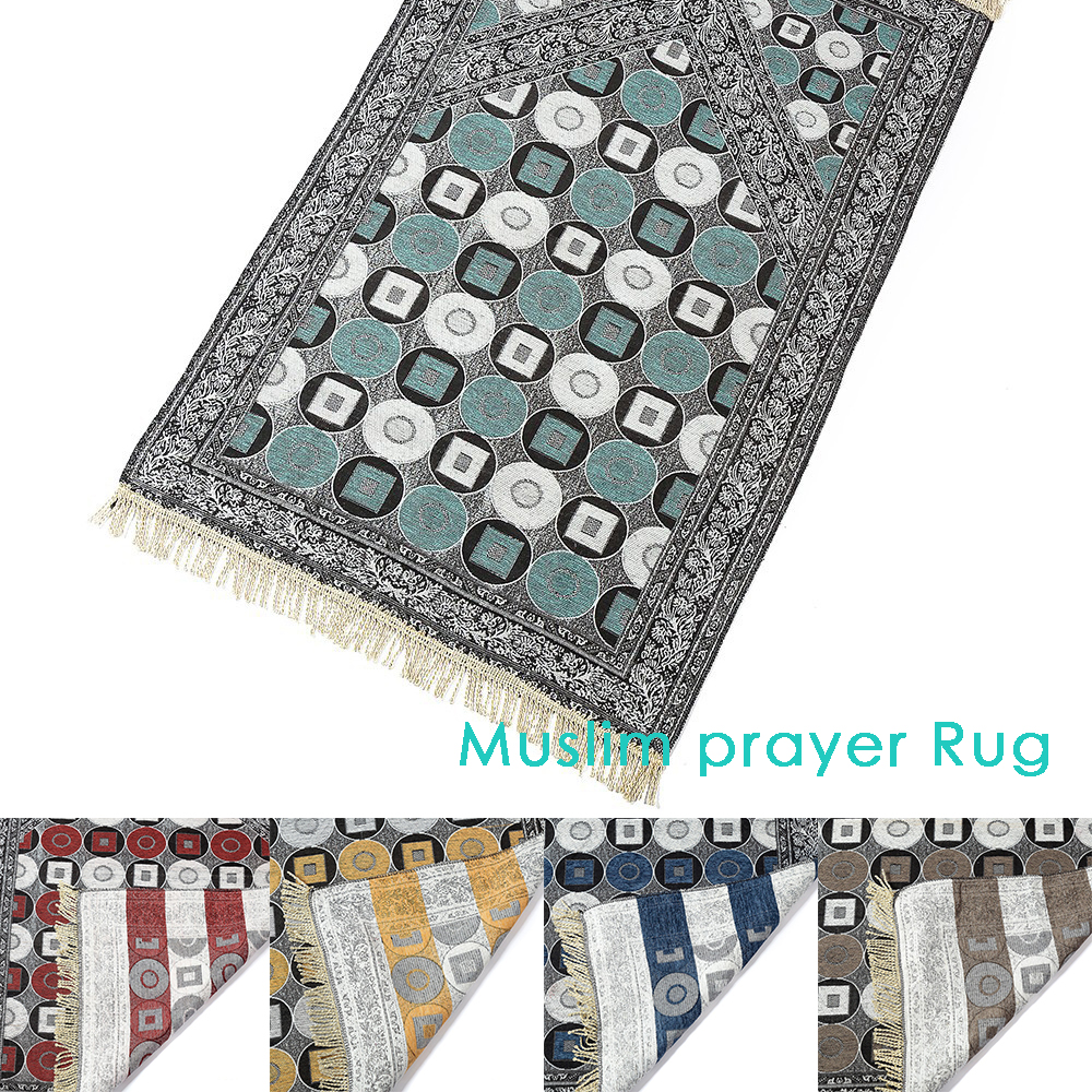 Thickening Muslim Blanket Prayer Rug Anti-skid Living Room Islamic Prayer Mat Polyester Soft Retro Tassel Carpet Decor 110x70cm
