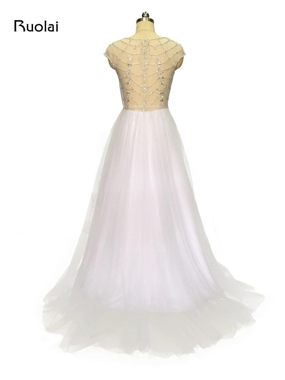 Real Sample Luxury Rhinestone Top V Neck A Line Tulle Wedding ...