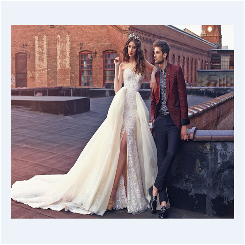 New arrival long lace detachable skirt 2016 vintage plus for Halloween wedding dresses plus size
