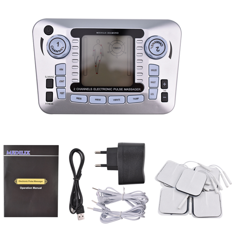 Electrical Muscle Stimulator Body Relax Therapy Massage Device Electric Pulse Tens Acupuncture Digital Meridian Massager 10 Pads new multifunction body massage electric muscle stimulator acupuncture neck back massager tens therapy massage pad relaxation