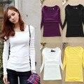 Otoño Mujeres Tops Casual Camisa básica Invierno Sólido Pullover t shirt Tamaño Libre 9 Colores de Moda de Alta Calidad