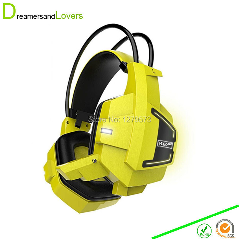 Comfortable LED 3.5mm Stereo Gaming LED Lighting Over-Ear Headphone Headset Headband with Mic for PC Computer Game Yellow/Black hot 3 5mm led illuminated headband style gaming headset headphone with mic for pc wholesale