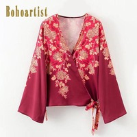 Bohoartist Women Blouse Spring Print Floral Flare Sleeve V Neck Casual Shirts Lace Up Ladies Bohemia