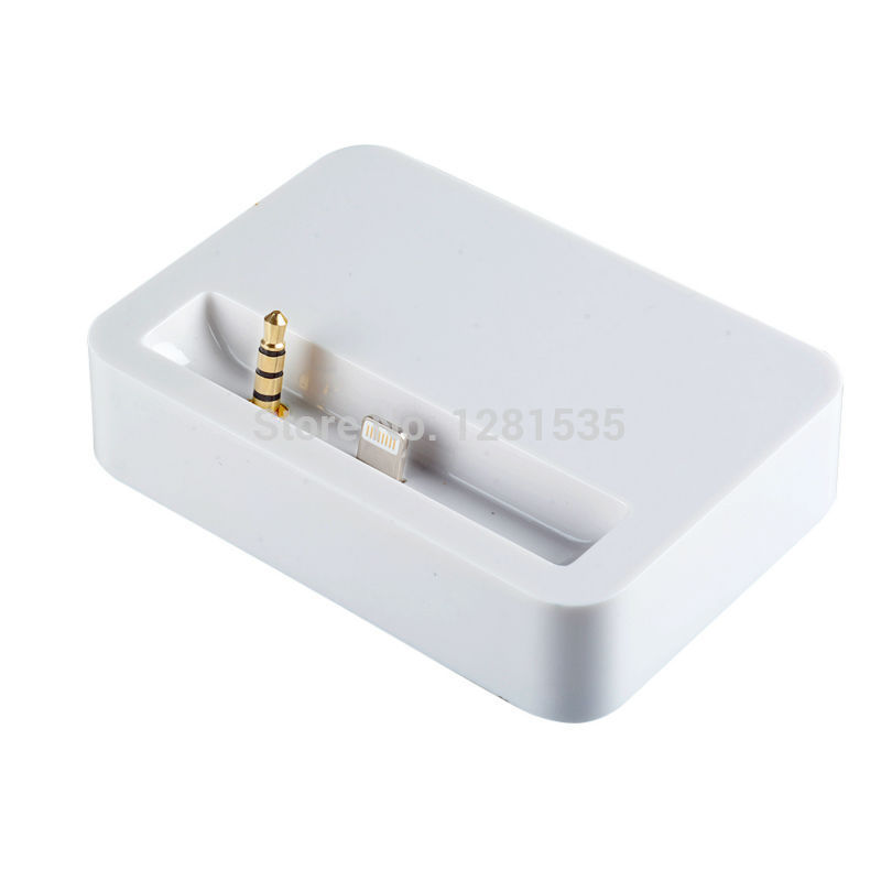 watch cc225 d51a2 US $3.5 |New White Dock Docking Station Charger Stand Desktop Sync Data  With 3.5mm Audio Output For Apple iPhone 5 5G 5S 5C-in Mobile Phone  Chargers ...