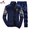 new fashion Men's outwear sportSuit Sweatshirts Embroidery Men Hoodies Stand Collar Male casual Tracksuit + Pants 4XL QK8809