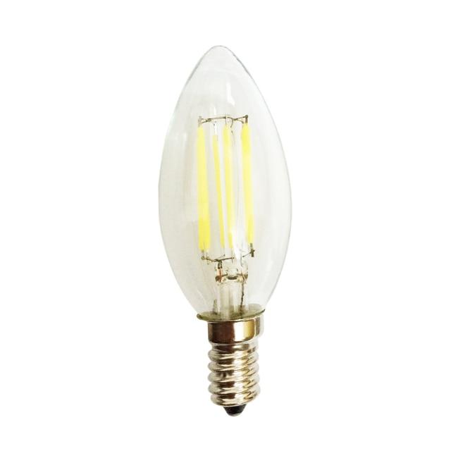 New E14 AC110V 4W 6W COB Dimmable Candle  LED Lamp Filament Glass Housing Blub Lighting Retro pointed/bent-tail Light 10pcs/lot