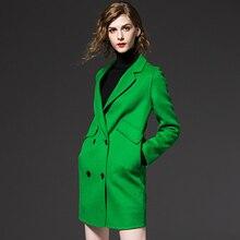 2016 Automne Hiver Femmes Vestes et Manteau de double Bouton Moyen Long Épaissir Femme Élégante Chaud en Laine coupe-vent Manteau 65215