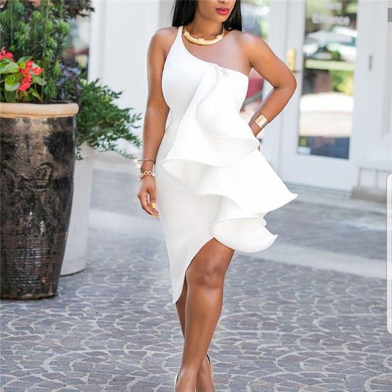 Us 22 82 38 Off Women White Dress Bodycon Club Evening One Shoulder Party Ruffles Y Dinner Clubwear Backless Slim Tunics Elegant Robes In