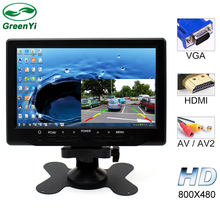 GreenYi 7 Inch 800x480 TFT Color LCD AV Vehicle Car Rearview Monitor With HDMI VGA AV Input CCTV Security Monitor+Remote Control