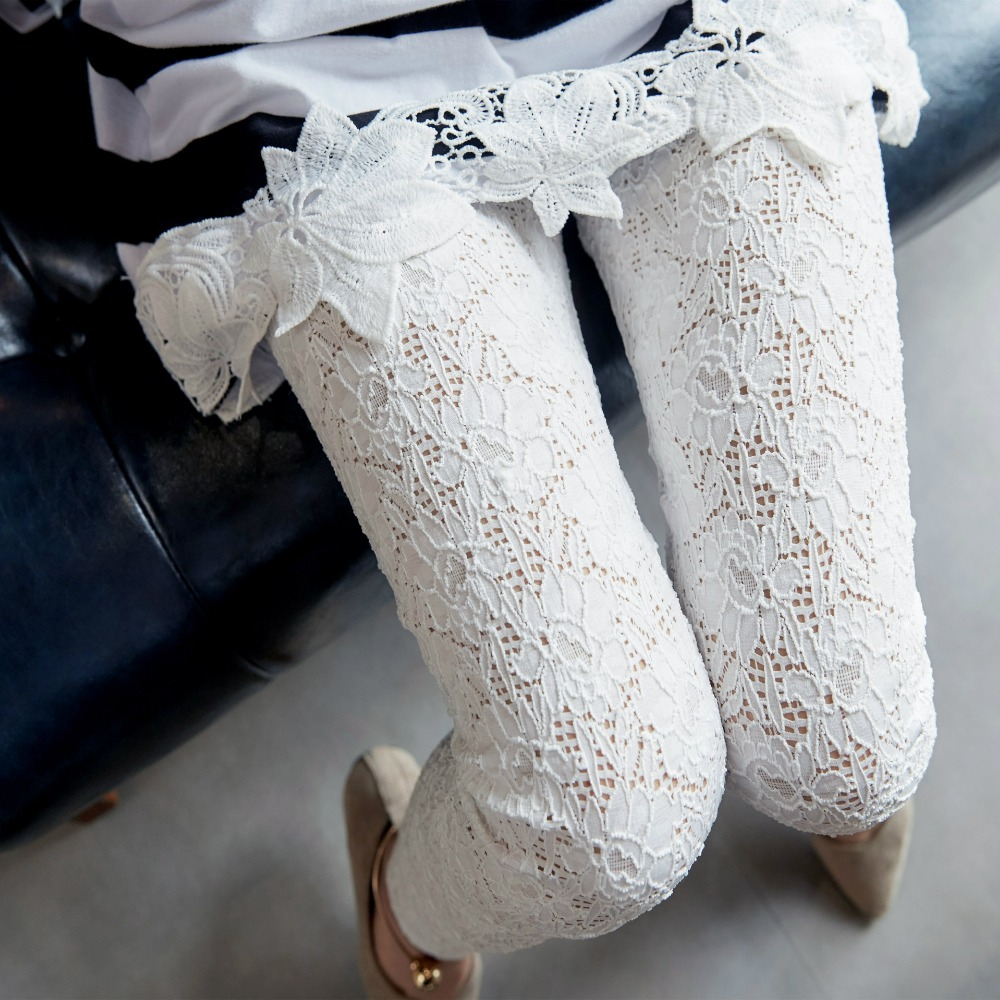 Nevettle High waist Sexy Hollow out Stretch Pants Women Summer Vintage Lace Capris Black White