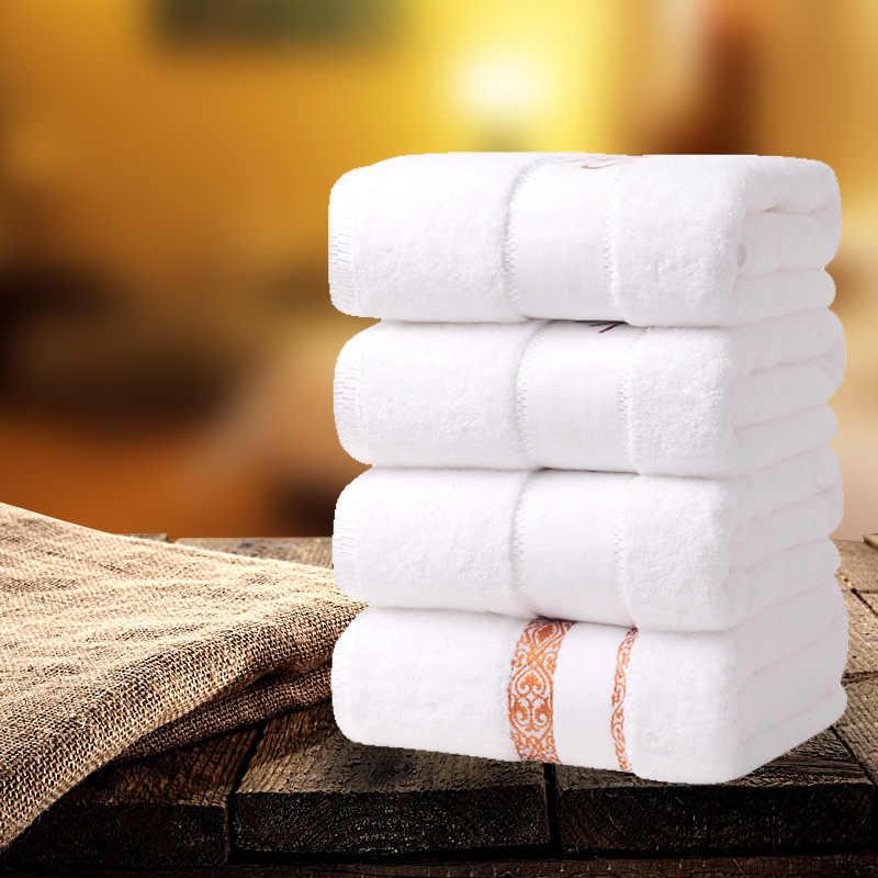 Cinq étoiles hôtel coton épais serviette de bain blanc pur serviette Super doux forte serviette absorbante Spa/Salon de beauté/fournitures de restaurant